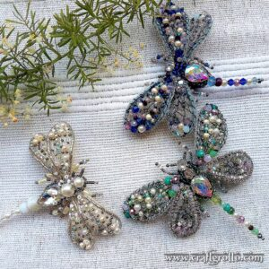 Bride Dragonfly & Bridesmaids - Set of 3 Beaded Brooches