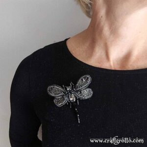 'Night Keeper' Dragonfly Beaded Brooch - Handcrafted, designer jewelry