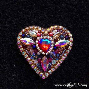Pink Crystal Heart 💗 Handcrafted Designer's Beaded Brooch